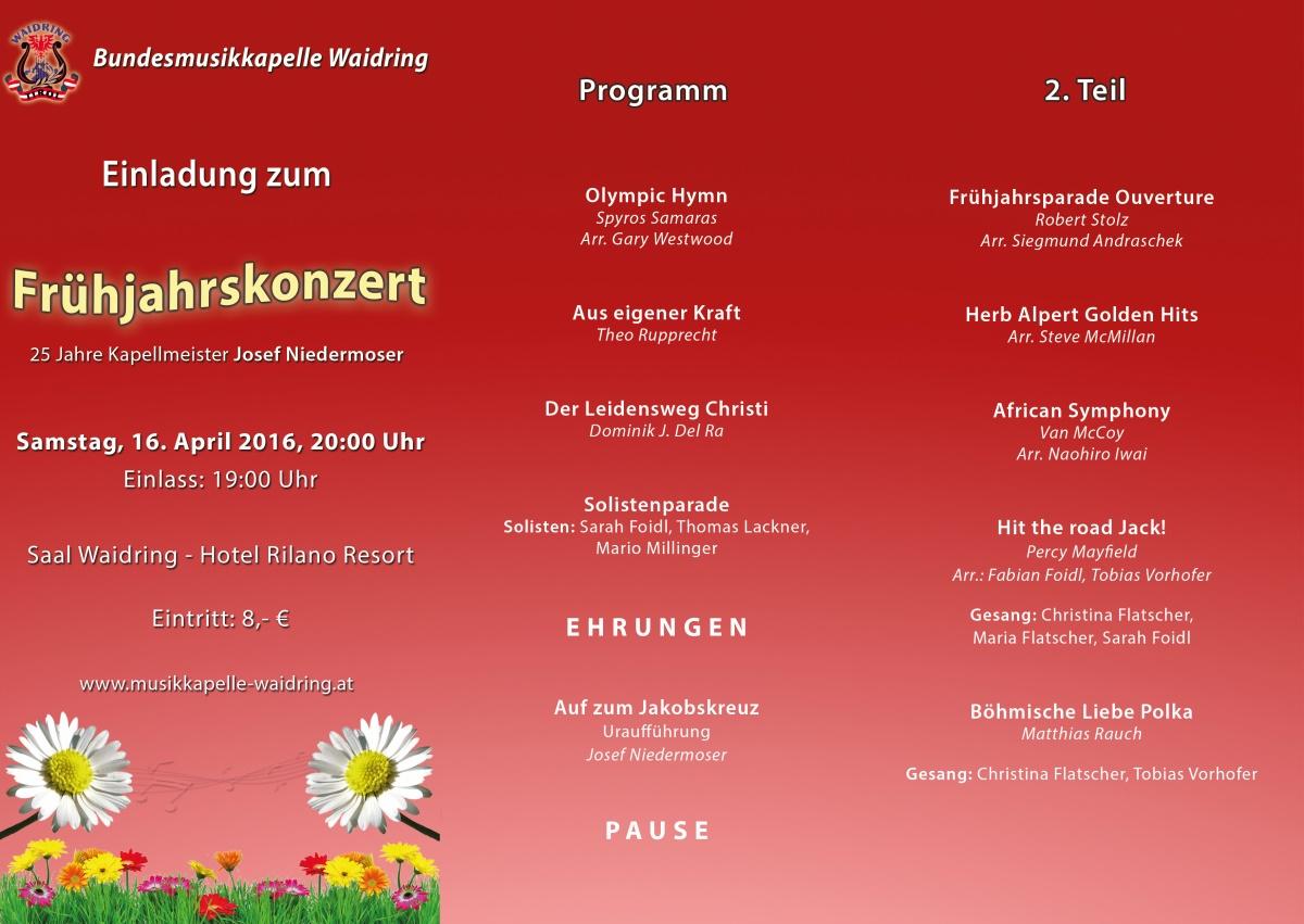 bundesmusikkapelle waidring - archiv, Einladung